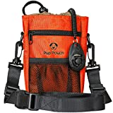 Dog Clicker Treat Walking Training Pouch Bag Bonus Clicker Trainer - Built-in Double Poop Bag Dispenser, Drawstring Closure - Carries Balls, Toys, Treats - 3 Ways to Wear - Burnt Orange