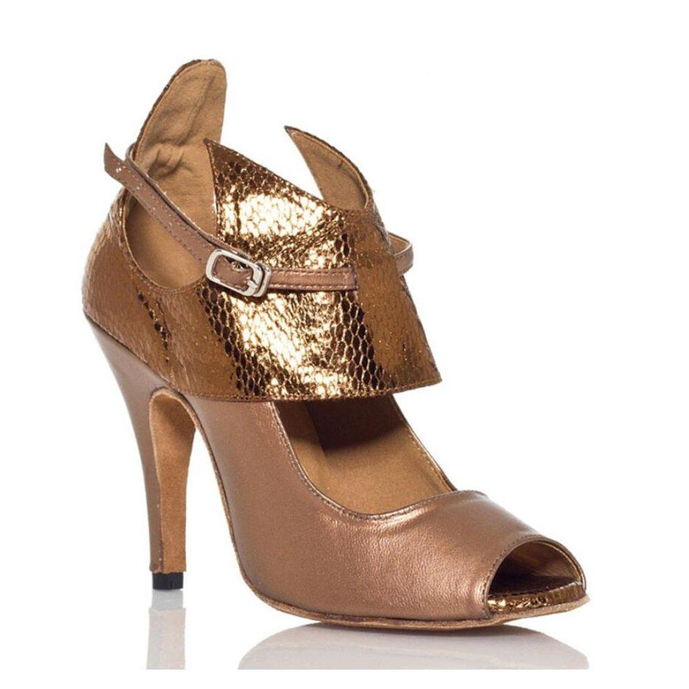Onfly New Damen Latin Schuhe funkelnde Glitter Sandale Ballroom Schuhe/Fersen Performance/Professional Strass/Sekt Glitter Flared Heel Party  Abend Bronze eu size  37|EIN