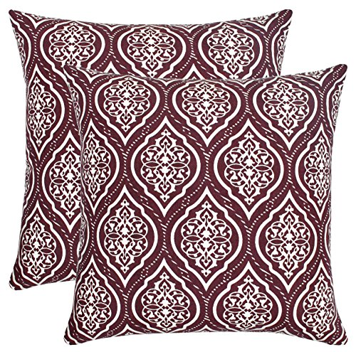 Isabella Beddings Ogee Pattern Damask Throw Pillow Case Cover 100% Cotton Cushion Covers Square Eco-Friendly Home Decor for Sofa Couch Bed Wine 18x18 inch 45x45 cm Pack of 2