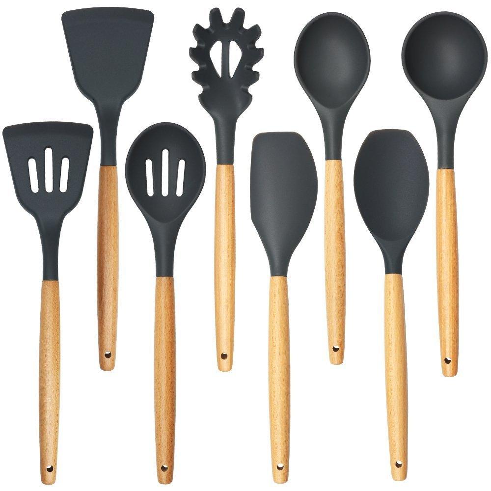 Silicone and Wooden Kitchen Utensils Set - 8 Piece