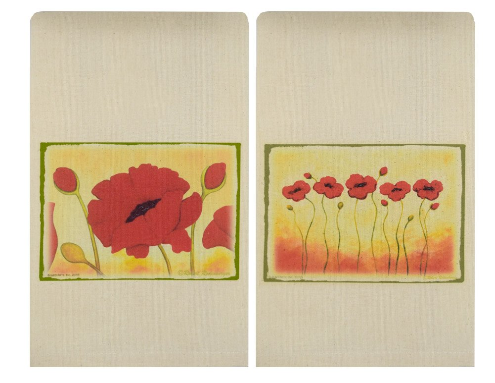 American Made Perfect Pairings Cotton Kitchen Tea Towels, Set of 2: Red Poppy