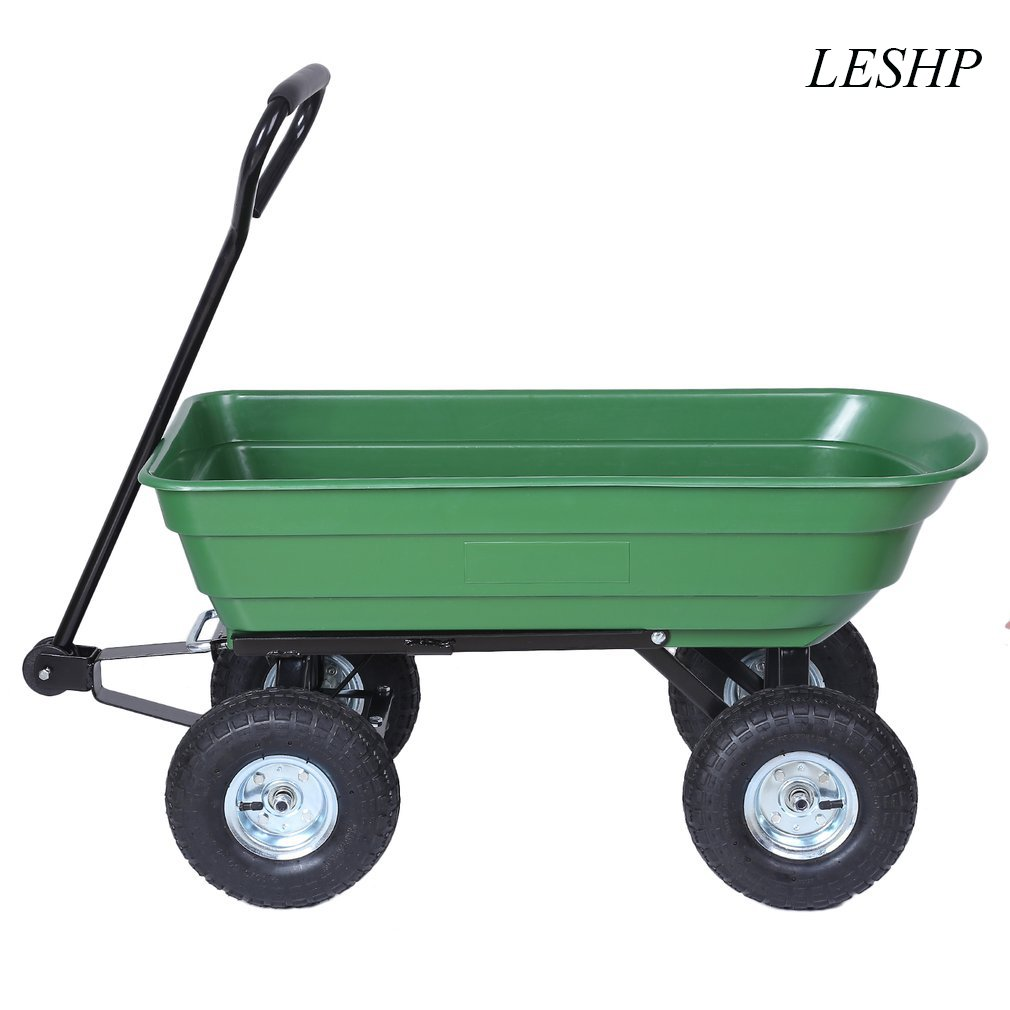 Heavy Duty Large Capacity Garden Dump Cart Dumper Utility Yard Lawn Wagon Carrier Wheel Barrow Pneumatic Tires Garden Tools