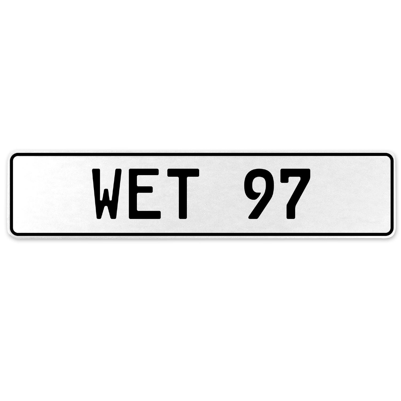Vintage Parts 554991 Wet 97 White Stamped Aluminum European License Plate