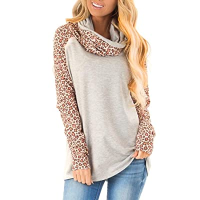 Blivener Women's Casual Sweatshirts Long Sleeve Leopard Print Tops Cowl Neck Raglan Shirts at Women's Clothing store