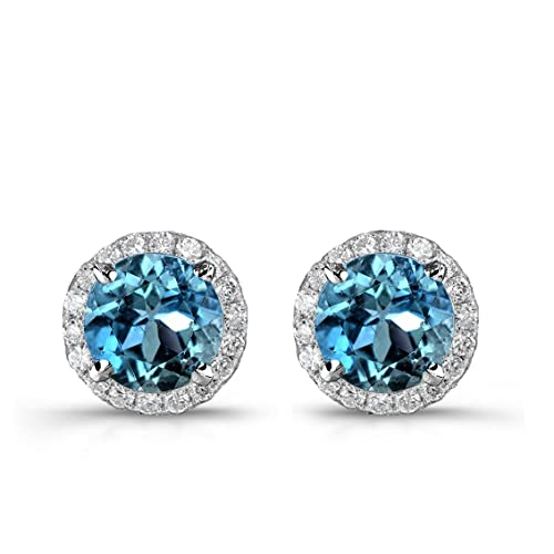 57c729144 Victoria Kay 1 1/4ct Blue Diamond with White Diamond Halo Stud Earrings in  14k
