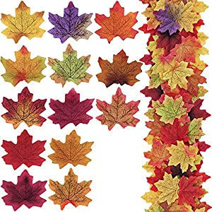 """Supla 650 Pcs 13 Colors Assorted Silk Artificial Fake Autumn Maple Leaves Fake Fall Leaf Foliage Bulk 3.15"""" L X 3.15"""" W for Fall Wedding Party Birthday Baby Shower Thanksgiving Table Door Decorations 19"""