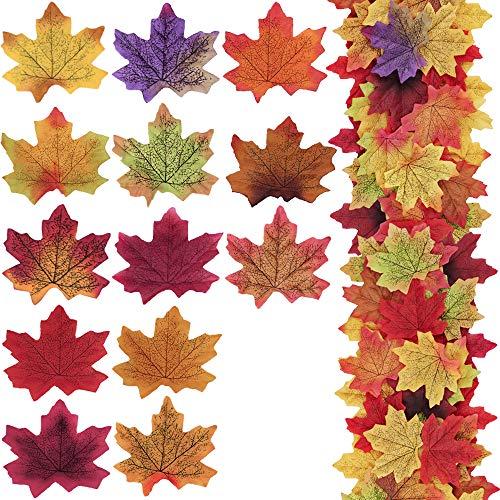 Supla 650 Pcs 13 Colors Assorted Silk Artificial Fake Autumn Maple Leaves Fake Fall Leaf Foliage Bulk 3.15