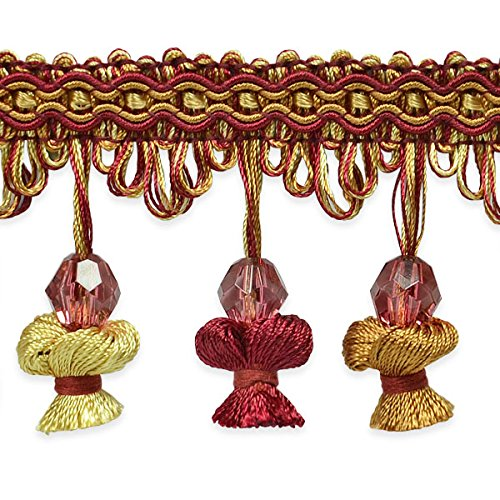 Expo International Stacia Onion Tassel Bead Fringe Trim Embellishment, 20-Yard, Cranberry ()