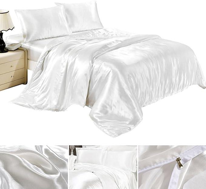 Completo sábanas fundas sábana funda nórdica de seda satén
