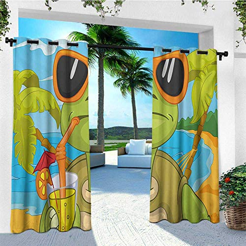 (leinuoyi Turtle, Outdoor Curtain Pole, Cool Sea Turtle with Sunglasses Drinking Cocktail at The Beach Cartoon, Outdoor Curtain Set for Patio Waterproof W96 x L108 Inch Green Orange Pale Blue)