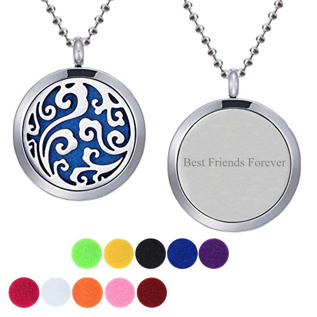 CliPons Aromatherapy Essential Oil Cloud Diffuser Locket Necklace Letter Best Friends Forever