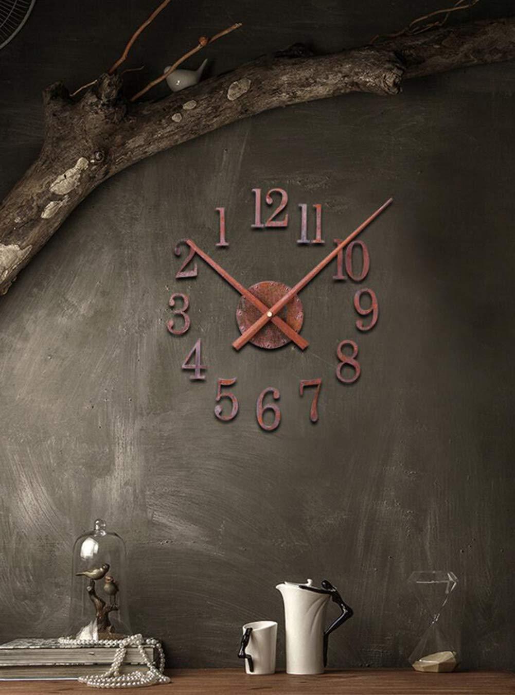 Amazon.com: Izzya DIY Mudo Reloj De Pared óXido De Metal Estilo Retro Gran Reloj Pegatinas 3D DecoracióN para Sala Oficina: Home & Kitchen