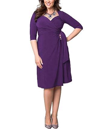 3476175e85 ABYOXI Damen Vintage Elastisches Kleid 3/4 Ärmel V-Neck Cocktail Kleider  Knielang Abendkleid