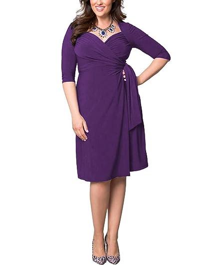 3a9e19f3bf38 ABYOXI Damen Vintage Elastisches Kleid 3 4 Ärmel V-Neck Cocktail Kleider  Knielang Abendkleid Große Größen mit Gürtel  Amazon.de  Bekleidung
