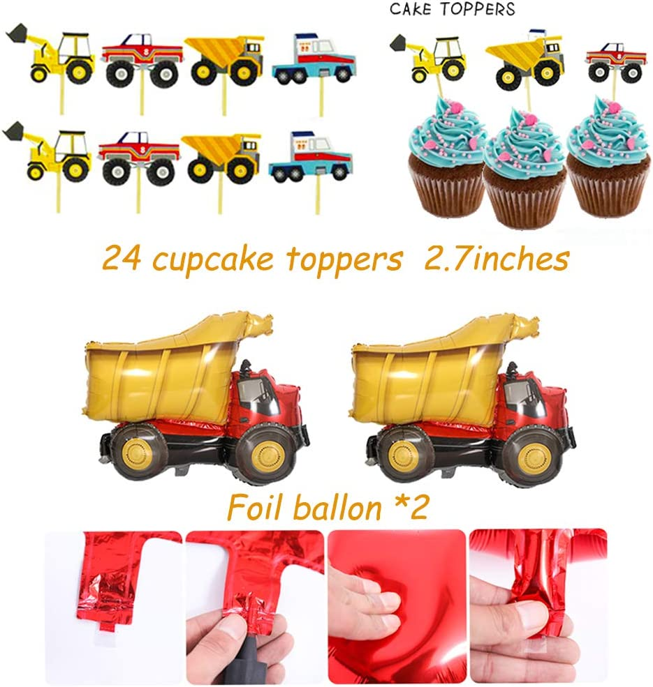 FOVERN1 49PCS Construction Birthday Party Supplies Dump Truck Party Decorations Kits Set for Kids Birthday Party