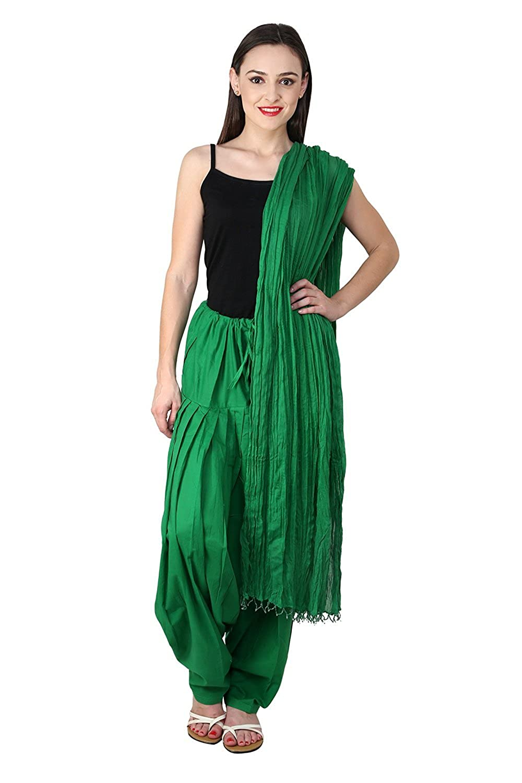 Famacart Women Cotton Plain Patiyala Salwar Dupatta set (Free Size) US-F-SDM003