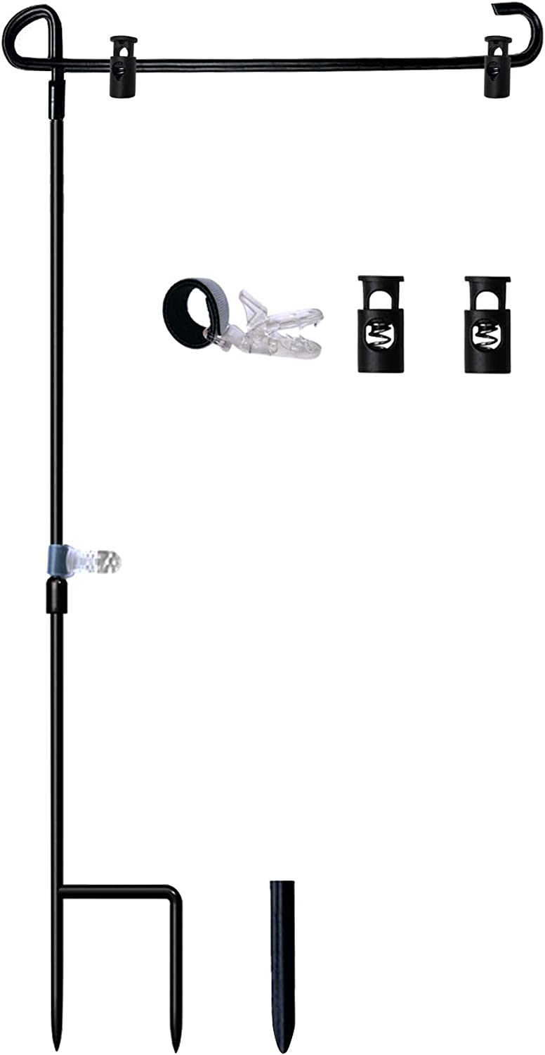 "W&X Garden Flag Stand-Holder-Pole with Garden Flag Stopper and Anti-Wind Clip 36.3"" H x 16.5"" W Powder-Coated Waterproof Paint Keep Your Flags from Flying Away in High Winds"