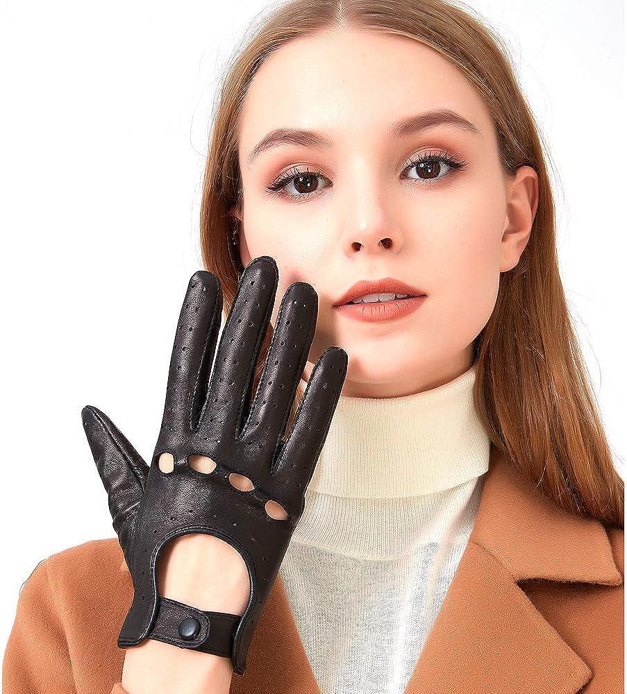 sottili ed eleganti ZLUXURQ Guanti in pelle da donna auto da guida e uso quotidiano
