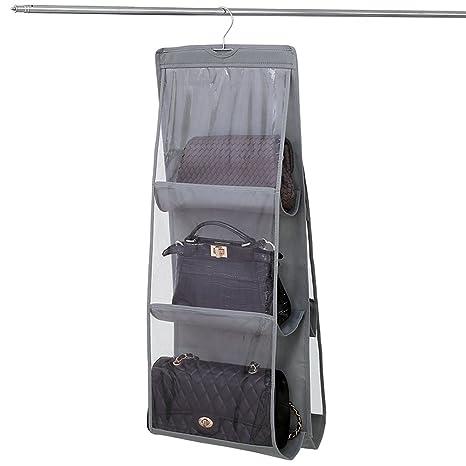 NNIUK Plegable Colgador de Bolsos para Armario Dos Lados 6 Claro Organizador Bolsos Armario idear para Dormitorio con Closet, 13.7 x 12.6 x 35.4 en