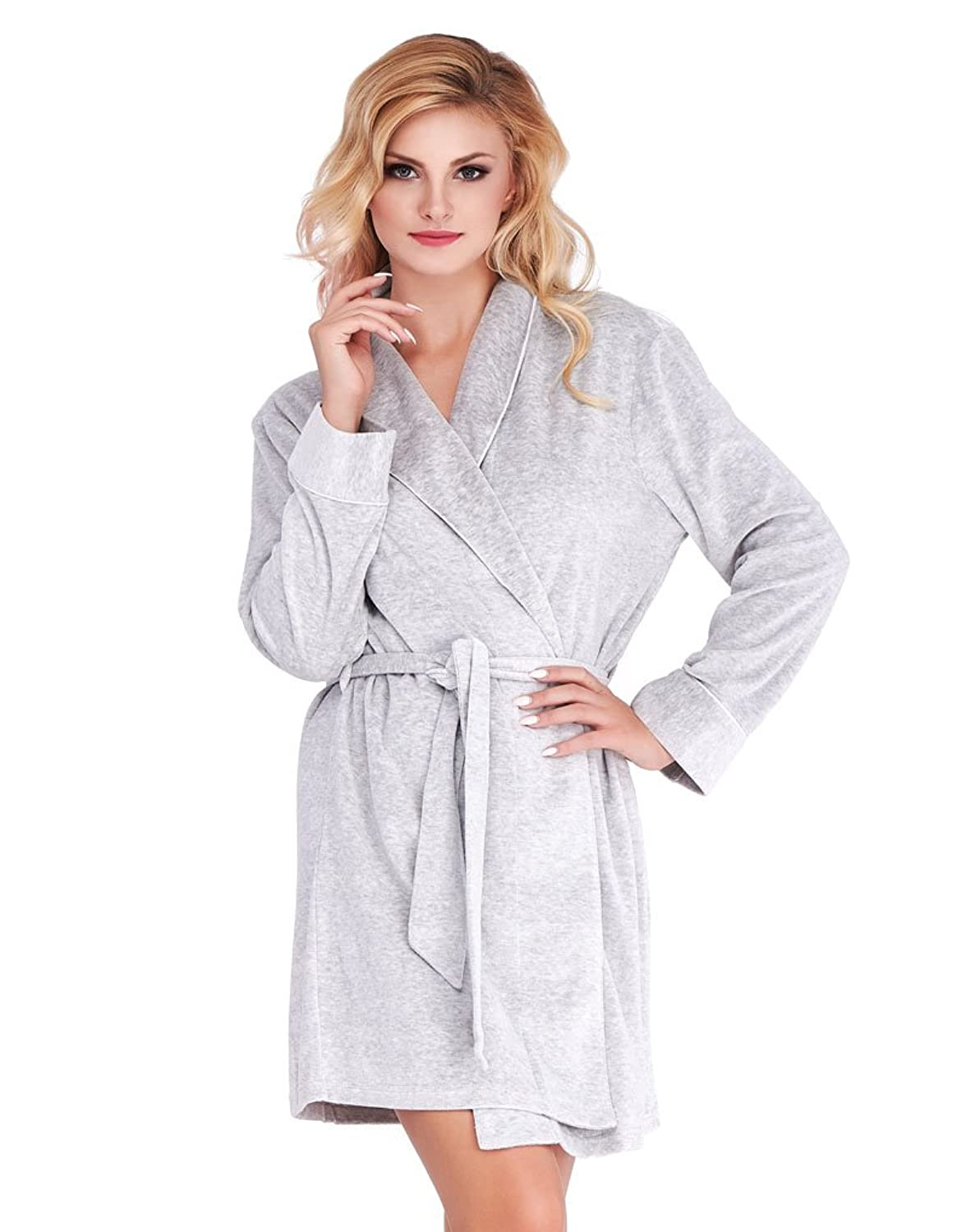 Mio Lounge Grey Velour Robe ML16V1RB