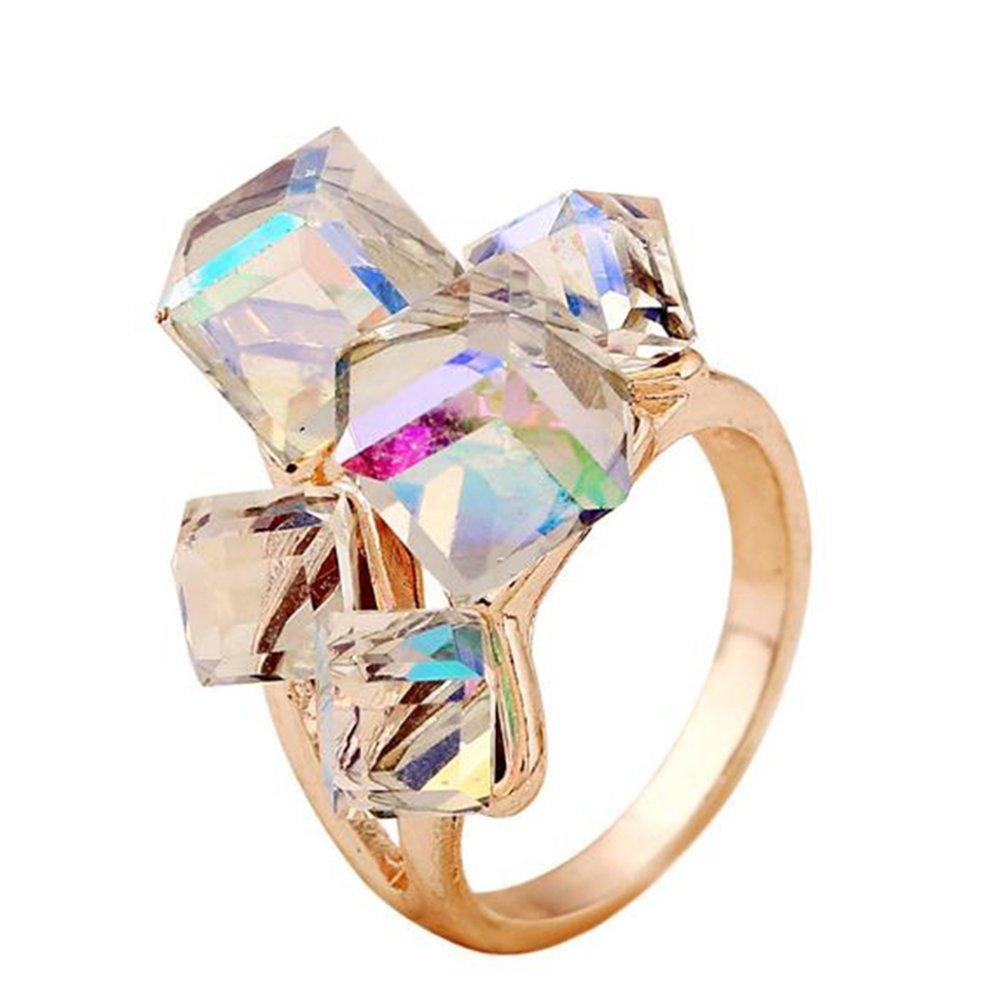 Outflower 1pcs Anello di cristallo cubico magico Anello di moda regalo femminile di lusso e di lusso Anello regalo di San Valentino 10 blu