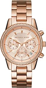 Michael Kors Chronograph Women's Rose Gold Dial Stainless Steel Band Watch - MK6357