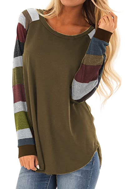 7749ab8da6d0fe Allimy Women Fall Tunic Tops for Leggings Around Neck Shirts Long Sleeve  Blouses Small Brown