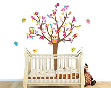 Colorful Nursery Owl Tree Wall Decal