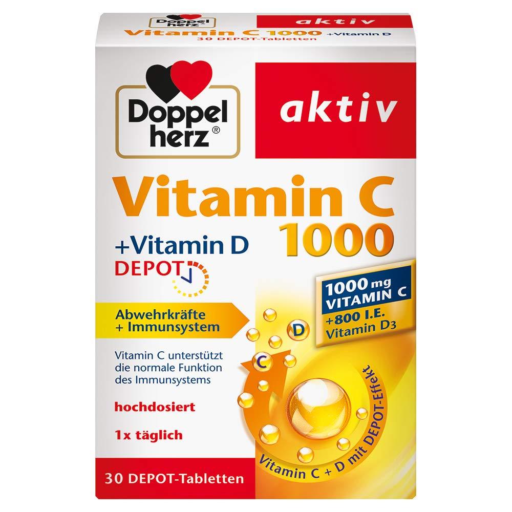 Vitamina D doble del corazón C1000 + Vitamina D, depósito, 1 x 30 tabletas: Amazon.es: Salud y cuidado personal