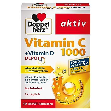 Vitamina D doble del corazón C1000 + Vitamina D, depósito, 1 x 30 tabletas