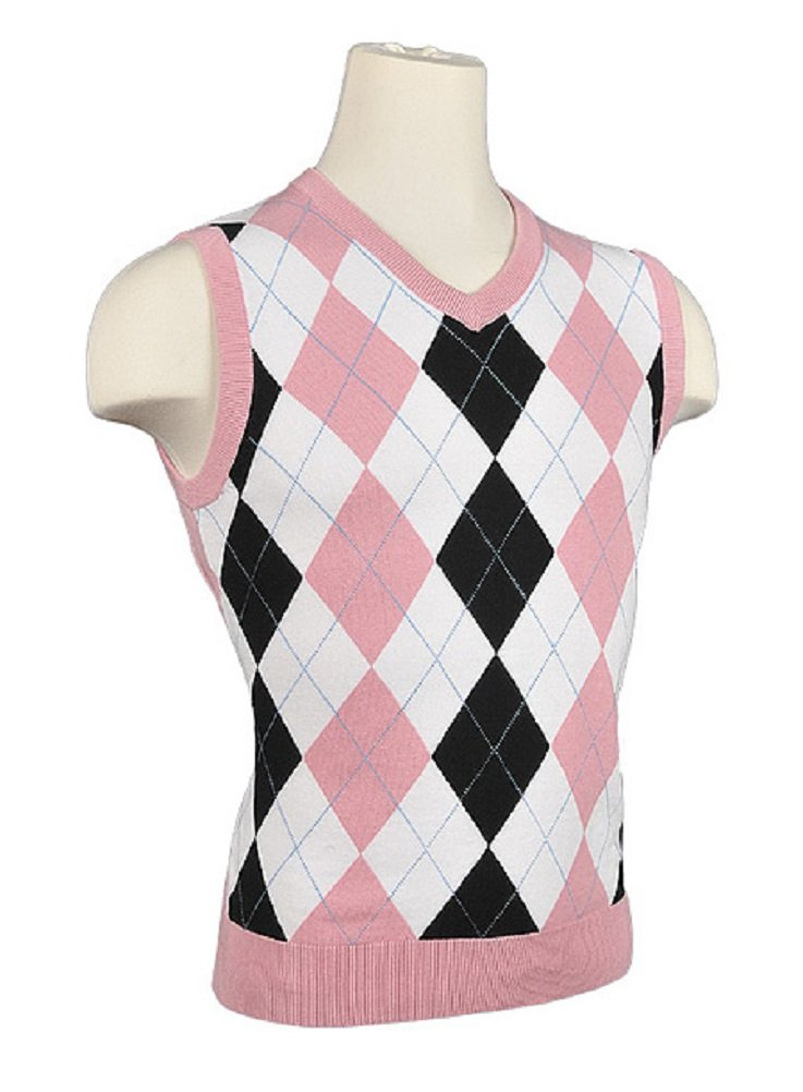 Amazon.com: Women's Argyle Golf Sweater Vest - White/Black/Pink ...