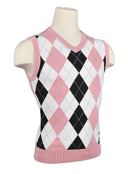 Amazoncom Womens Argyle Golf Sweater Vest Whiteblackpink
