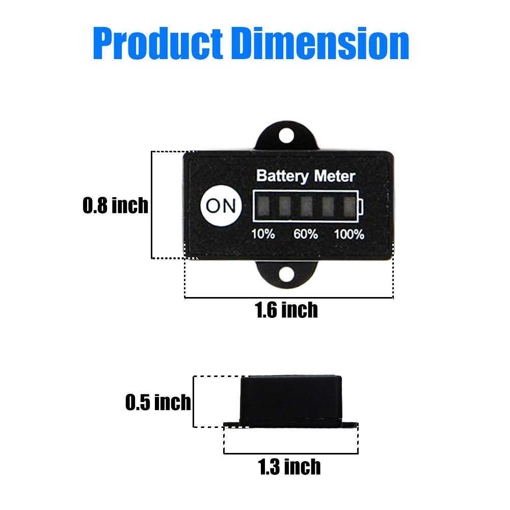 BUNKER INDUST Mini 12V 24V LED Battery Indicator Gauge Meter, Universal Lead-acid Battery Tester for Motorcycle Golf Carts Car Marine ATV by BUNKER INDUST (Image #3)