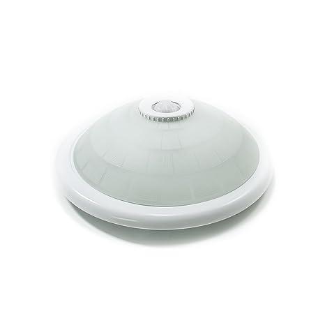 Plafón con sensor de presencia crepuscular integrado, 2 bombillas LED con rosca E27, 18