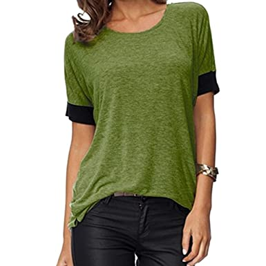 04479ab6d5e Shybuy Women Blouse, Womens Tops Short Sleeve Shirts Round Neck Casual T  Shirts Loose Fit Tee Blouses