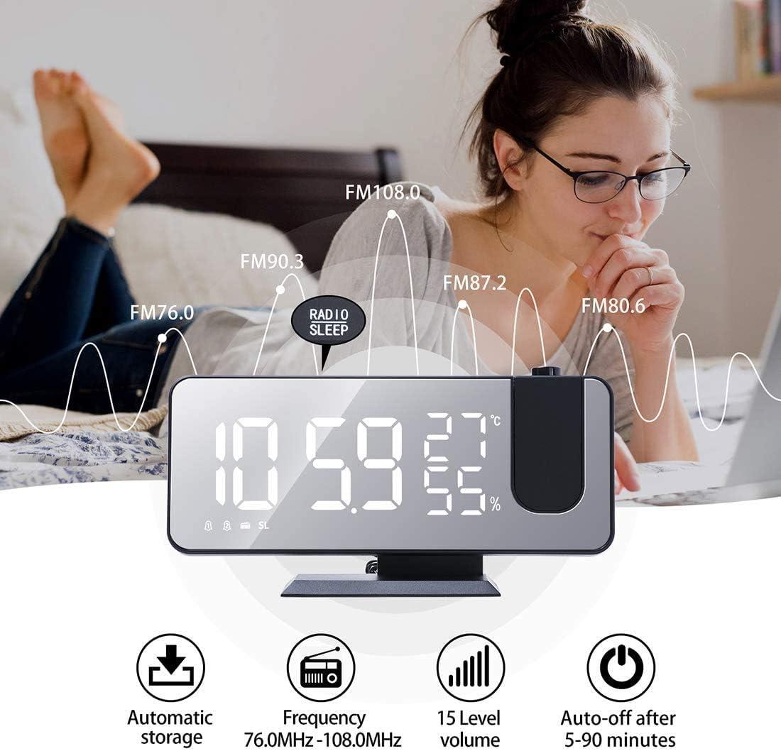 Bedroom Small Desktop Alarm Clock Projection Alarm Clock,LED Digital Alarm Clock with Mirror Surface Black 12//24H Setting Snooze,Dual Alarm,FM Radio USB Charging Port Temperature and Humidity