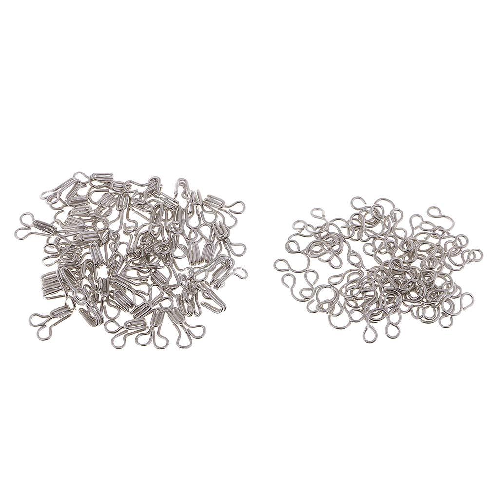 Prettyia 100 Sets Hook /& Eye Bra Fastener Metal Dress Skirt Sew on Replacement Repair Silver