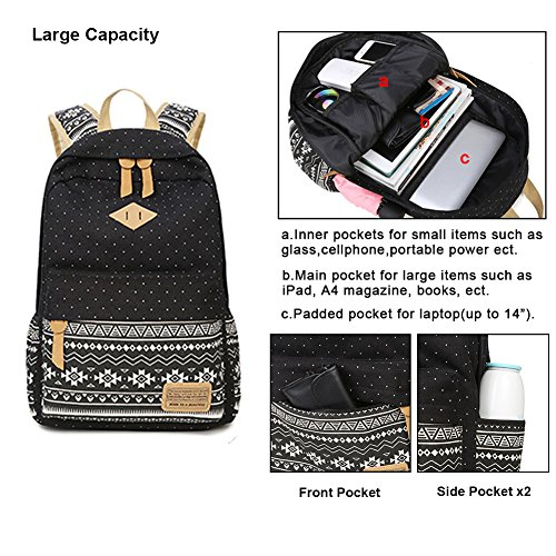 73fb23167192 Teen Girl School Backpack with Lunch Box Pencil Case