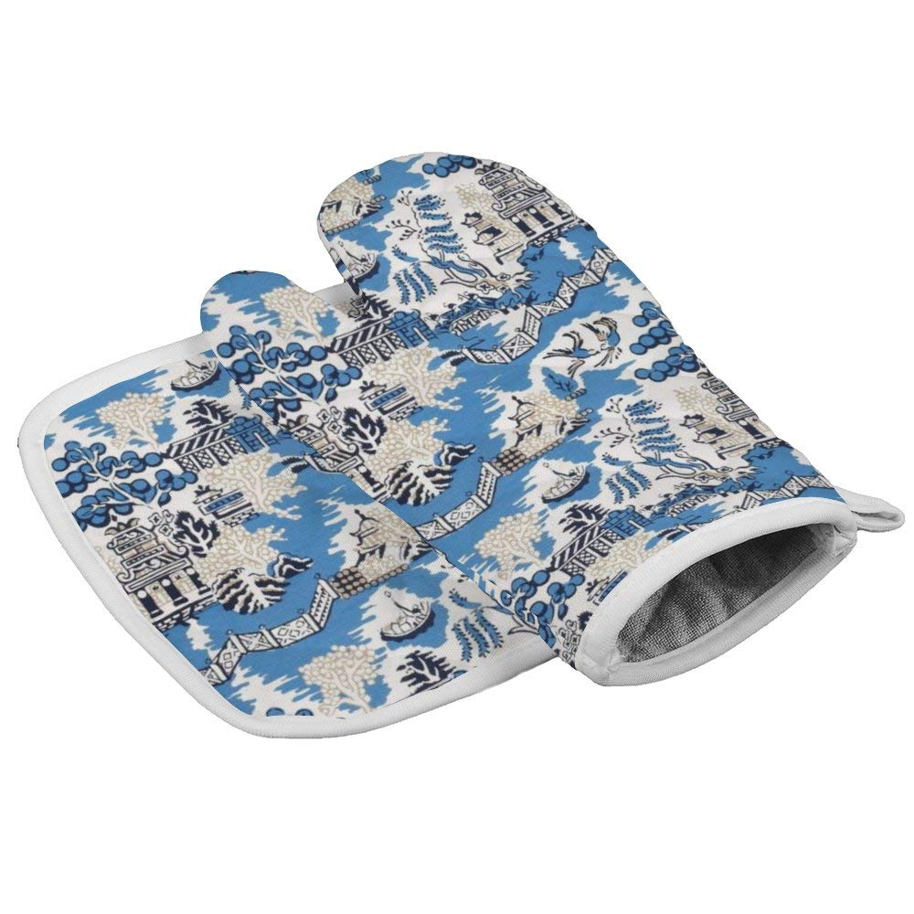 Blue & White China Blue Willow Oven Gloves Microwave Gloves Barbecue Gloves Kitchen Cooking Bake Heat Resistant Gloves Combination