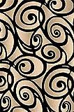 Black 2X4 Carved Swirls Modern Geometric Mat Rug