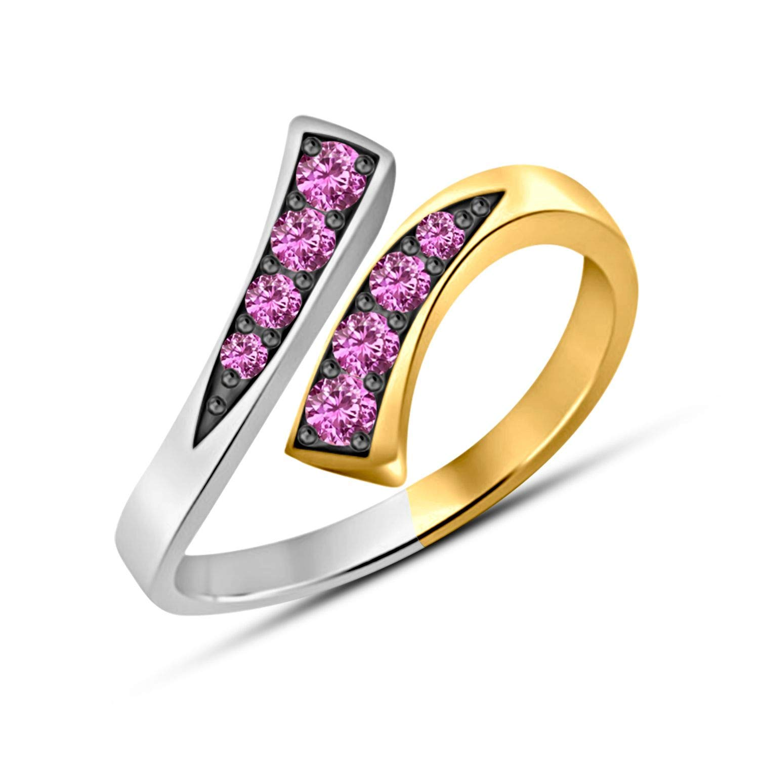 Gemstar Jewellery Girls Adjustable Bypass Toe Ring in 925 Sterling Silver Round Shape Pink Sapphire