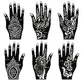 BMC 8pc Mehndi Henna Tattoo For Hand - 2 Color Cones w/ 6 Template Stencils