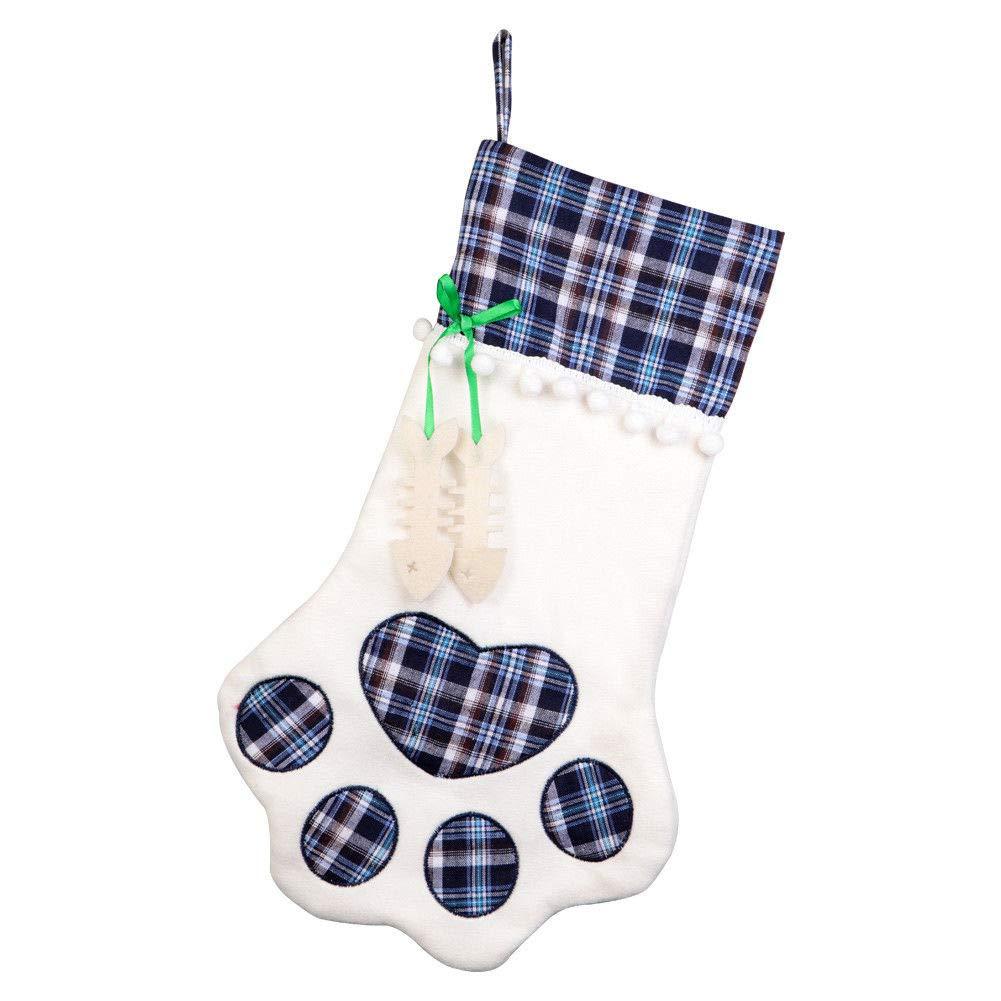 Weihnachtssocken-Geschenk-Beutel-hängende Strumpf-Geschenk-Halter-Taschen-Kamin-Baum-Dekor-Katzen-Hundetatze für Haustiere UDFGVDH