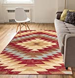 "Well Woven Carly Medallion Red 8×10 (8'2"" x 9'10"") Southwestern Transitional Casual Classic Thin Value Area Rug Perfect for Living Room Dining Room Family Room Greatroom Review"