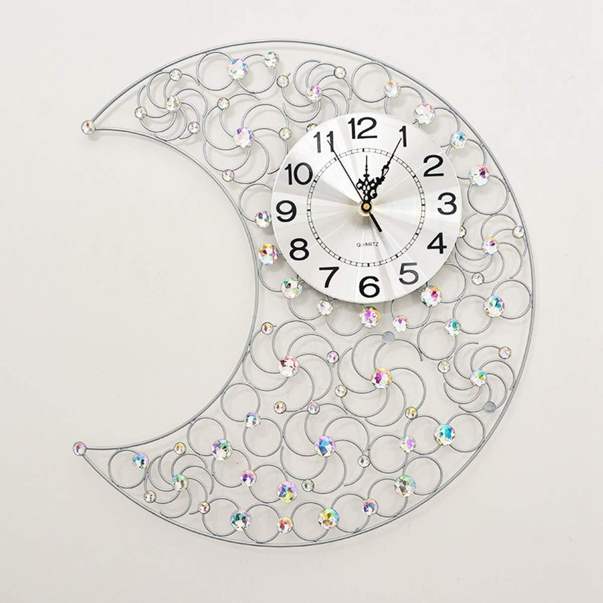 Chennong 現代大きい月の水晶ダイヤモンドの居間のための錬鉄の柱時計の水晶無声壁時計 (Color : Silver)  Silver B07R9WF4GB