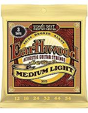 Ernie Ball 3003 Earthwood Medium Light 80/20 Bronze Acoustic String Set, 3 Pack.012 - .054