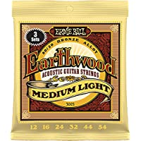 Ernie Ball Earthwood Medium Light 80/20 Bronze Sets, .012 - .054 (3 Pack)