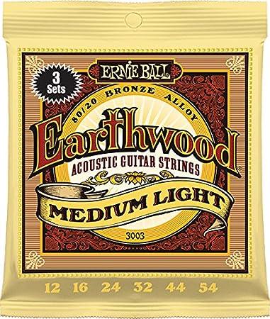 Ernie Ball 3003 Earthwood Medium Light 80//20 Bronze Acoustic String Set 3 Pack.012 .054