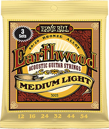 (Ernie Ball Earthwood Medium Light 80/20 Bronze Sets, .012 - .054 (3 Pack))