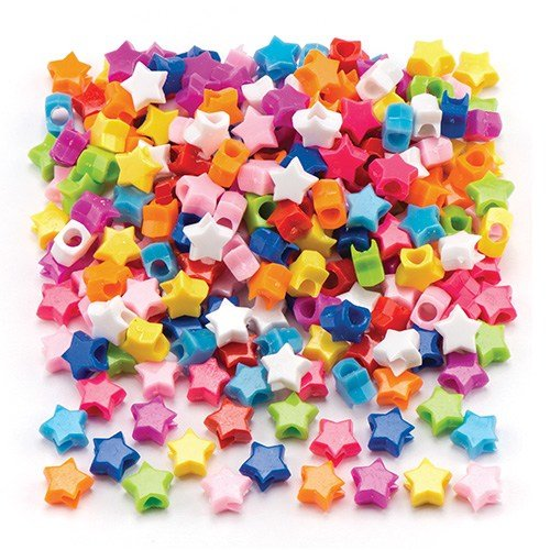 Baker Ross Star Pony Beads for Children's Jewellery Making, Bead Crafts, Collage (Pack of 400)